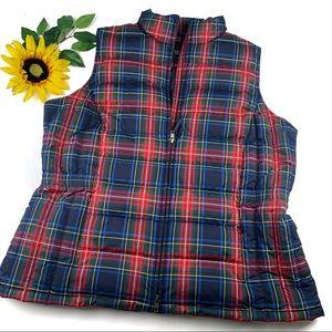 Talbots Tarten Plaid Puffer Coat Vest Full Zip